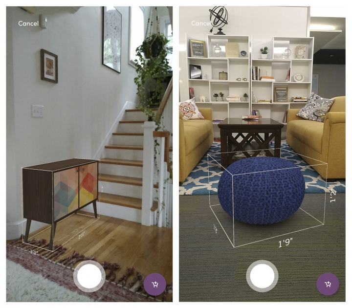 This photo provided by Wayfair shows screenshots demonstrating WayfairView for Tango-enabled Android phones, allowing a user to superimpose virtual images over real-life settings. The app allows shoppers to see how furniture will look in their living room or other space before buying it. (Wayfair Inc. via AP)