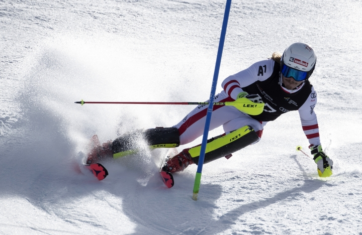 Winner of the men's slalom Manuel Feller from Austria skis past a gate at the Winter Games NZ in Cardrona, Queenstown, New Zealand, Wednesday, Aug. 30, 2017. (Iain McGregor/Winter Games NZ via AP)