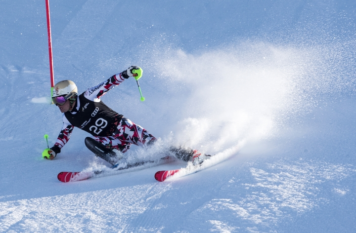 Thomas Dorner from Austria skis past a gate during the men's slalom at the Winter Games NZ in Cardrona, Queenstown, New Zealand, Wednesday, Aug. 30, 2017. (Iain McGregor/Winter Games NZ via AP)