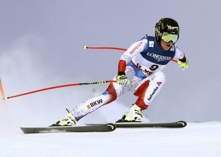 FILE- In this Friday, Feb. 10, 2017 file photo, Switzerland's Lara Gut speeds down the course during a women's combined event, at the alpine ski World Championships, in St. Moritz, Switzerland. Olympic downhill bronze medalist Lara Gut has targeted World Cup races in North America to make her comeback from a serious knee injury at the world championships. (AP Photo/Alessandro Trovati, File)