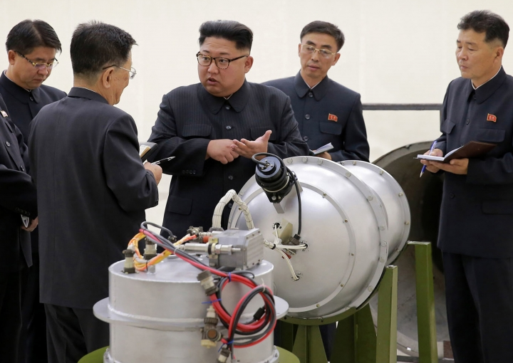 This undated image distributed on Sunday, Sept. 3, 2017, by the North Korean government, shows North Korean leader Kim Jong Un at an undisclosed location. North Korea's latest nuclear test was part theater, part propaganda and maybe even part fake. But experts say it was also a major display of something very real: Pyongyang's mastery of much of the know-how it needs to reach its decades-old goal of becoming a full-fledged nuclear state. The jury is still out on whether North Korea tested, as it claims, a hydrogen bomb ready to be mounted on an ICBM. (Korean Central News Agency/Korea News Service via AP, File)