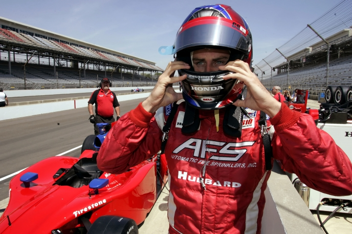 "FILE - In this May 8, 2006, file photo, driver Arie Luyendyk Jr.adjust his helmet as he prepares to practice for the 90th running of the Indianapolis 500 at the Indianapolis Motor Speedway in Indianapolis. Luyendyk was announced as the leading man for ABC's ""The Bachelor"" on Sept. 7, 2017. (AP Photo/Tom Strattman, File)"