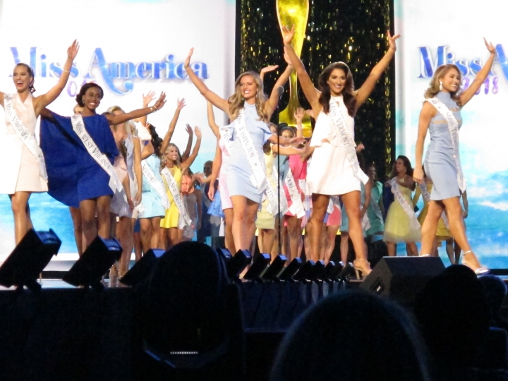 Miss America contestants take the stage for the second night of preliminary competition in Atlantic City N.J. on Thursday Sept. 7, 2017. The next Miss America will be crowned Sunday night. (AP Photo/Wayne Parry)