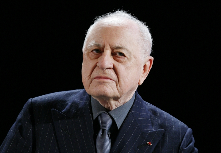 FILE - In this Feb.23 2009 file photo, French businessman Pierre Berge and former partner of late fashion designer Yves Saint-Laurent speaks to the media. Pierre Berge, an influential French businessman and philanthropist who was fashion designer Yves Saint Laurent's romantic and business partner and championed gay rights, has died at 86. (AP Photo/Jacques Brinon, File)