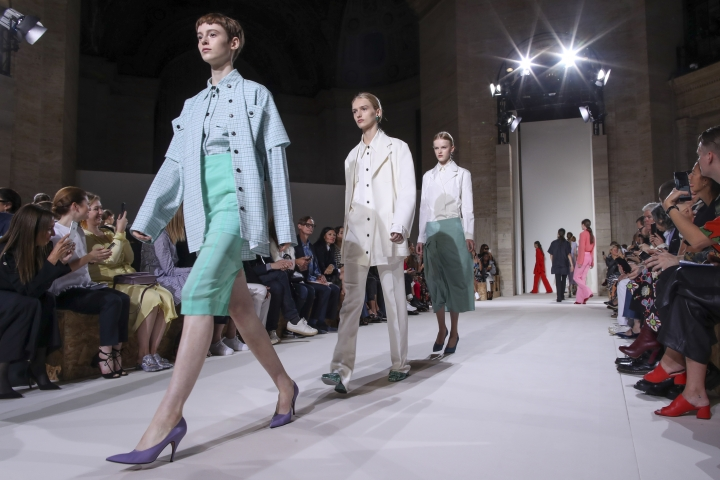 Models walk the runway during the Victoria Beckham Spring/Summer 2018 fashion show during New York Fashion Week, Sunday, Sept. 10, 2017. (AP Photo/Mary Altaffer)