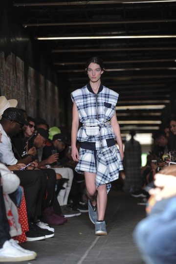 The Public School Spring 2018 collection is modeled during New York Fashion Week, Sunday, Sept. 10, 2017, in the Chinatown neighborhood of New York. (AP Photo/Diane Bondareff)