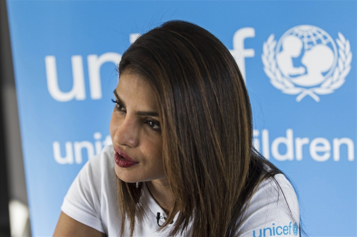 "Priyanka Chopra, a UNICEF Goodwill Ambassador, gives an interview to The Associated Press at the UNICEF Country Office in Amman, Jordan, Sunday, Sep. 10, 2017. Chopra said the world needs to do more to help those displaced by war -- through individual donations if governments won't step up. The Bollywood veteran who is increasingly making her mark in the U.S. also said Sunday that she didn't realize until working in America that it's ""difficult for a woman of color"" to be cast in a wide range of roles. (AP Photo/Lindsey Leger)"