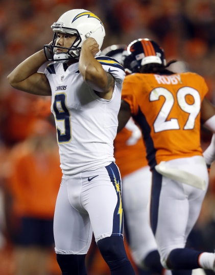 Los Angeles Chargers kicker Younghoe Koo (9) reacts after his field goal attempt was tipped and fell short of the goal post during the second half of an NFL football game against the Denver Broncos, Monday, Sept. 11, 2017, in Denver. The Broncos won 24-21. (AP Photo/David Zalubowski)