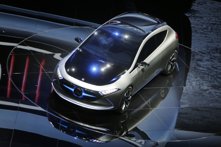 The Concept EQA is presented by Mercedes-Benz on the first media day of the International Frankfurt Motor Show IAA in Frankfurt, Germany, Tuesday, Sept. 12, 2017, which runs through Sept. 24, 2017. (AP Photo/Michael Probst)