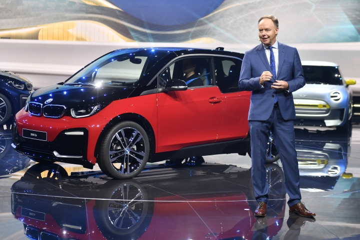 BMW board member Ian Robertson speaks at a BMW event during the first media day of the International Frankfurt Motor Show IAA in Frankfurt, Germany, Tuesday, Sept. 12, 2017, which runs through Sept. 24, 2017. (AP Photo/Martin Meissner)