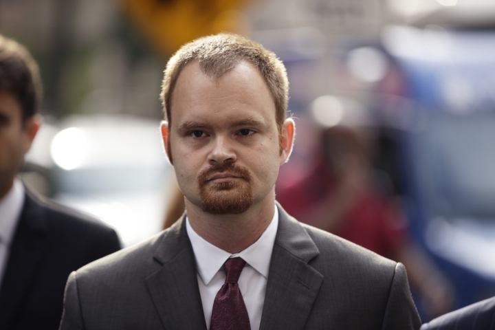 Brandon Bostian, the Amtrak engineer charged in a Philadelphia derailment that killed eight in 2015, arrives for a preliminary hearing at the Criminal Justice Center in Philadelphia, Tuesday, Sept. 12, 2017. (AP Photo/Matt Rourke)