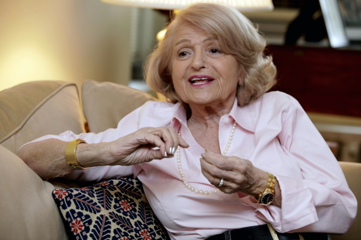FILE - In this Dec. 12, 2012 file photo, Edith Windsor speaks during an interview in her New York City apartment. Windsor, who brought a Supreme Court case that struck down parts of a federal law that banned same-sex marriage, died Tuesday, Sept. 12, 2017, in New York, according to her attorney. She was 88.(AP Photo/Richard Drew, File)