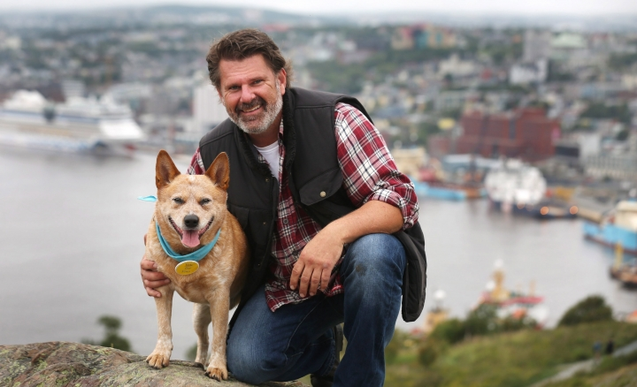 Finn, a five-year-old Australian cattle dog, poses with owner Glenn Redmond in St.John's, Newfoundland, Canada, Tuesday, Sept.12, 2017. A celebrity candidate has entered the mayoral race in St. John's, one with fur and four legs. Finn is featured in a tongue-in-cheek, campaign-style YouTube video that has been making the rounds on social media. (Paul Daly/The Canadian Press via AP)