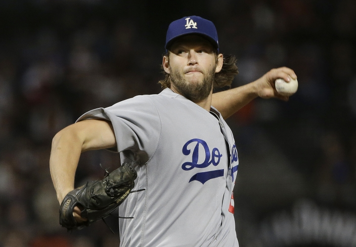 Los Angeles Dodgers pitcher Clayton Kershaw throws to a Francisco Giants batter during the first inning of a baseball game in San Francisco, Tuesday, Sept. 12, 2017. (AP Photo/Jeff Chiu)