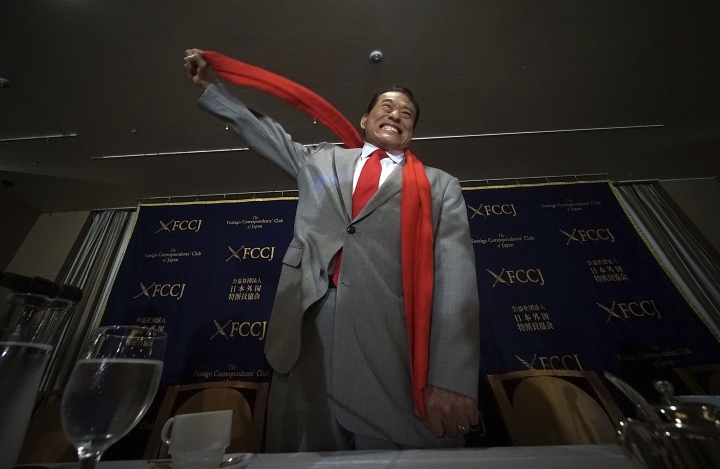 "Japanese pro-wrestler-turned-politician Kanji ""Antonio"" Inoki poses for photographers prior to a press conference at the Foreign Correspondents' Club of Japan in Tokyo, Wednesday, Sept. 13, 2017. Inoki, who returned from his latest Pyongyang visit earlier this week, told a news conference Wednesday in Tokyo that the government of Japan, as the world's only country to have suffered atomic attacks, should stay more neutral and serve as a mediator between Washington and Pyongyang calm down. (AP Photo/Eugene Hoshiko)"