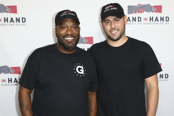 Bun B, left, and Scooter Braun attend the Hand in Hand: A Benefit for Hurricane Harvey Relief held at Universal Studios Back Lot on Tuesday, Sept. 12, 2017 in Universal City, Calif. (Photo by John Salangsang/Invision/AP)