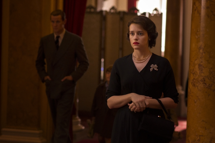 """This image released by Netflix shows Claire Foy in a scene from """"The Crown."""" Foy is nominated for an Emmy Award for outstanding lead actress in a drama series. The Emmy Awards ceremony, will air on Sept. 17. (Netflix via AP)"""