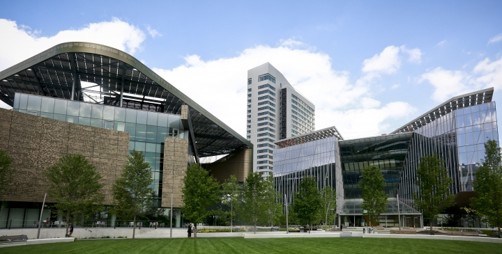This Wednesday Aug. 16, 2017, photo shows the main buildings of Cornell Tech - the main academic building called the Bloomberg Center, left, a 26-story residence hall, center, and a programs building called the Bridge, right, on Roosevelt Island in New York. The first three buildings of a 12-acre campus on Roosevelt Island are officially opening Wednesday, Sept. 13, after a fledgling Cornell Tech program spent the past four years as a rent-free tenant at a Google office building in Manhattan. (AP Photo/Bebeto Matthews)