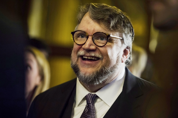 "Director Guillermo del Toro arrives ahead of the screening of ""The Shape of Water"" during the Toronto International Film Festival in Toronto on Monday, Sept. 11, 2017. (Christopher Katsarov/The Canadian Press via AP)"