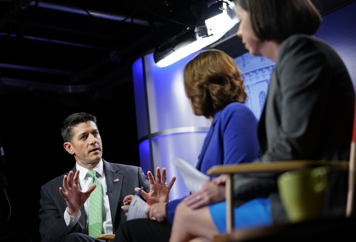 House Speaker Paul Ryan of Wis., left, answers questions during an interview with Julie Pace, AP chief of bureau in Washington; and Erica Werner, AP congressional correspondent, at the Associated Press bureau in Washington, Wednesday, Sept. 13, 2017. (AP Photo/Pablo Martinez Monsivais)