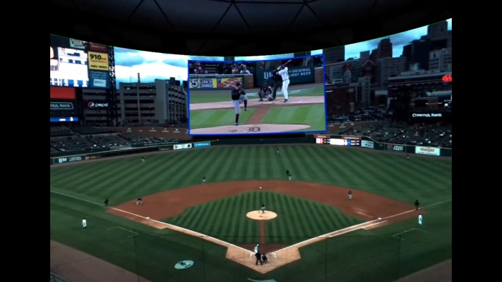 "This May 2, 2017, photo provided by Intel and Major League Baseball shows a ""fan"" view from a baseball game in Detroit. The virtual-reality coverage includes a view using standard television cameras, top center, showing the pitcher, batter and catcher in one shot. Major League Baseball, in a partnership with Intel, has had a free game in VR every Tuesday, subject to blackouts of hometown teams. (Courtesy of Intel/MLB via AP)"