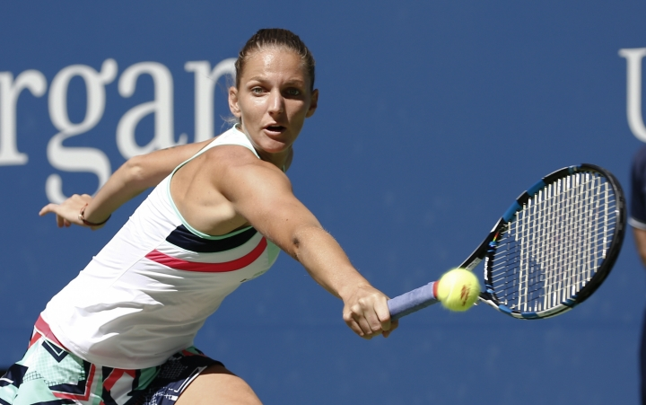 FILE - In this file photo dated Monday, Sept. 4, 2017, showing Karolina Pliskova, of the Czech Republic, in action against Jennifer Brady, of the United States, during the fourth round of the U.S. Open tennis tournament, in New York. Former world No. 1 Karolina Pliskova said Friday Sept. 15, 2017, that she has parted with coach David Kotyza. (AP Photo/Peter Morgan, FILE)