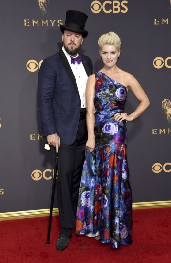 Chris Sullivan, left, and Rachel Reichard arrive at the 69th Primetime Emmy Awards on Sunday, Sept. 17, 2017, at the Microsoft Theater in Los Angeles. (Photo by Richard Shotwell/Invision/AP)