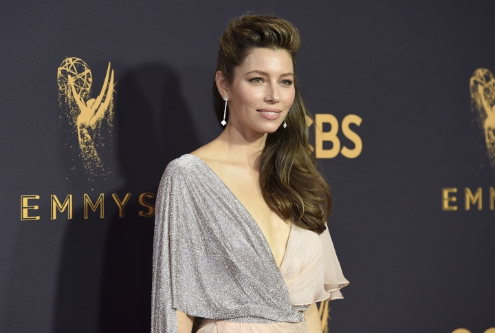 Jessica Biel arrives at the 69th Primetime Emmy Awards on Sunday, Sept. 17, 2017, at the Microsoft Theater in Los Angeles. (Photo by Jordan Strauss/Invision/AP)