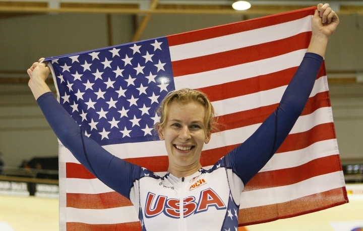 FILE - In this March 24, 2010, file photo, Sarah Hammer of the United States celebrates after winning the Women's Individual Pursuit at the World Track Cycling Championships at the Ballerup Arena in Copenhagen, Denmark. Three-time Olympian Sarah Hammer, one of the most decorated track cyclists in U.S. history, is retiring after a prolific career spanning more than two decades. The 34-year-old Hammer announced Monday, Sept. 18, 2017, that she's stepping away from competitive riding to focus on the training facility that she founded in Colorado Springs with her coach and husband, Andy Sparks. (AP Photo/Alastair Grant, File)