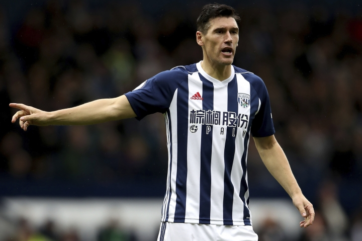In this Saturday, Sept. 16, 2017 photo, West Bromwich Albion's Gareth Barry gestures, during the English Premier League soccer match against West Ham United, at The Hawthorns, in West Bromwich. Barry will make a record 633rd Premier League appearance if he is selected by West Bromwich Albion against Arsenal on Monday, Sept. 25, 2017. Barry is currently level with Manchester United great Ryan Giggs on 632 appearances. (Nick Potts/PA via AP)
