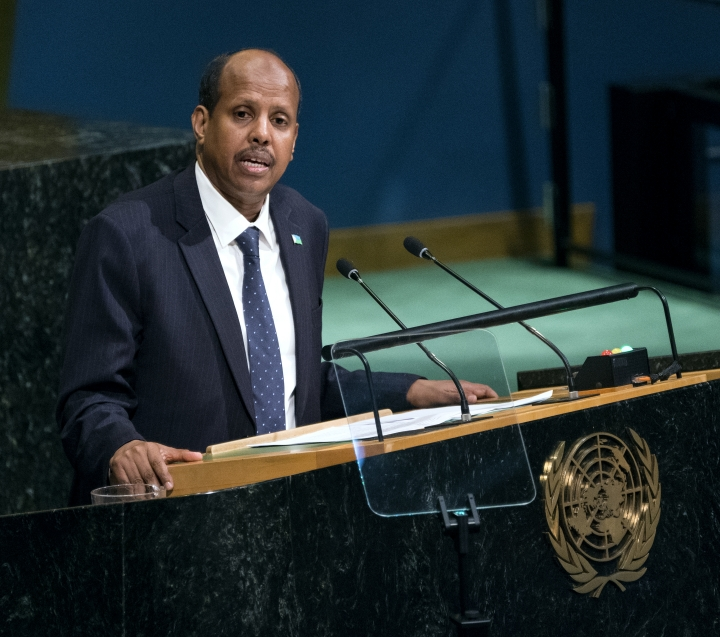 Mahamoud Ali Youssouf, Foreign Minister of Djibouti, addresses the United Nations General Assembly, Saturday, Sept. 23, 2017, at U.N. headquarters. (AP Photo/Craig Ruttle)