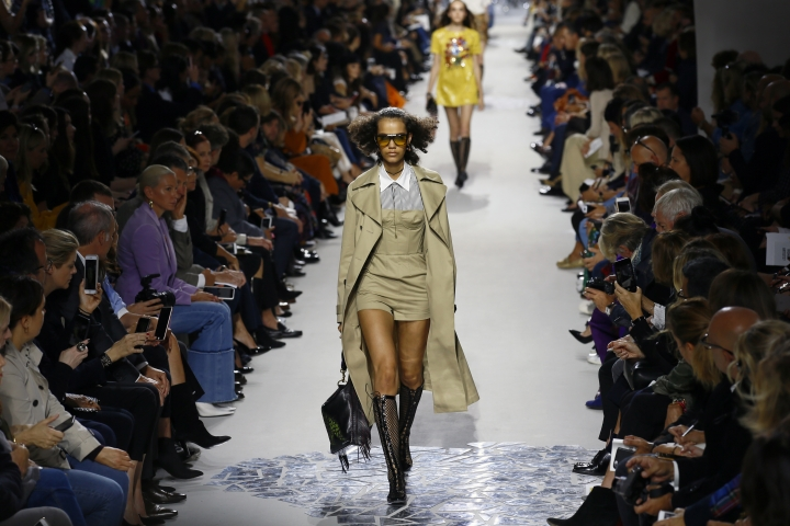 A model wears a creation for Christian Dior Spring/Summer 2018 ready-to-wear fashion collection presented in Paris, Tuesday, Sept.26, 2017. (AP Photo/Francois Mori)
