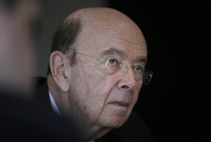 """U.S. Commerce Secretary Wilbur Ross listens to a reporter's question during a press conference in Hong Kong, Wednesday, Sept. 27, 2017. Ross said Wednesday that the Trump administration's priorities as it prepares to tackle bigger and """"more difficult"""" trade issues with China are better market access, less protectionism and protecting intellectual property rights. (AP Photo/Vincent Yu)"""