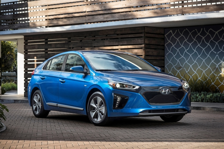 This photo provided by Hyundai shows the 2017 Hyundai Ioniq, which Edmunds highlights as one of the more enticing new EV choices. Despite the car's low sticker price, the interior feels more expensive than those of many cars in this class. But the Ioniq is currently only available in California. (Courtesy of the Hyundai Motor America via AP)