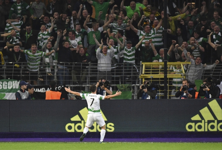 Celtic's Patrick Roberts jubilates after scoring a second goal for Celtic during a Champions League Group B soccer match between Anderlecht and Celtic at the Constant Vanden Stock stadium in Brussels, Wednesday, Sept. 27, 2017. (AP Photo/Geert Vanden Wijngaert)