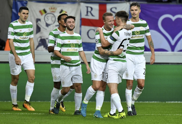 Celtic's Leigh Griffiths, third right, jubilates with teammates after scoring the first goal during a Champions League Group B soccer match between Anderlecht and Celtic at the Constant Vanden Stock stadium in Brussels, Wednesday, Sept. 27, 2017. (AP Photo/Geert Vanden Wijngaert)