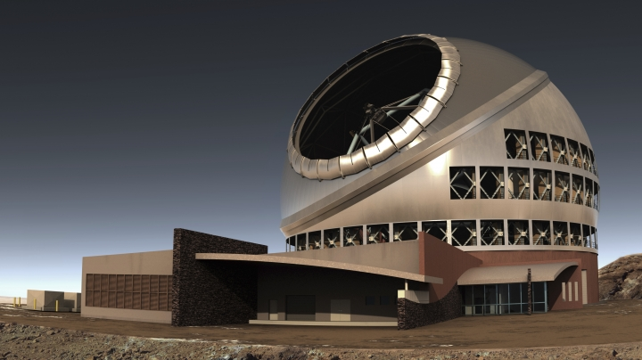 This illustration provided by Thirty Meter Telescope (TMT) shows the proposed giant telescope on Mauna Kea on Hawaii's Big Island. A long-running effort to build one of the world's largest telescopes on the mountain sacred to Native Hawaiians is moving forward after a key approval Thursday, Sept. 28, 2017, reopening divisions over a project that promises revolutionary views into the heavens but has drawn impassioned protests over the impact to a spiritual place. Hawaii's land board granted a construction permit for the $1.4 billion Thirty Meter Telescope atop the state's tallest mountain, called Mauna Kea, but opponents vowed to keep fighting. Protesters willing to be arrested were successful in blocking construction in the past. (Thirty Meter Telescope (TMT) via AP)