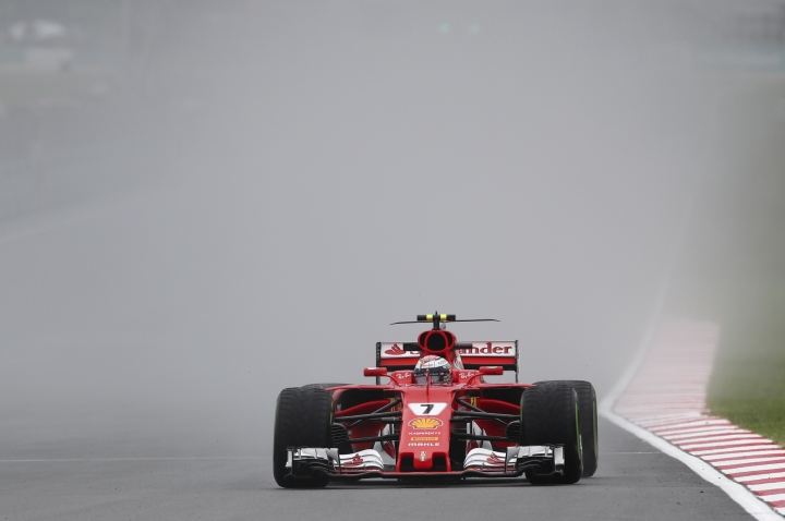 Ferrari driver Kimi Raikkonen of Finland steers his car during the first practice session for the Malaysian Formula One Grand Prix at Sepang International Circuit in Sepang, Malaysia, Friday, Sept. 29, 2017. (AP Photo/Daniel Chan)