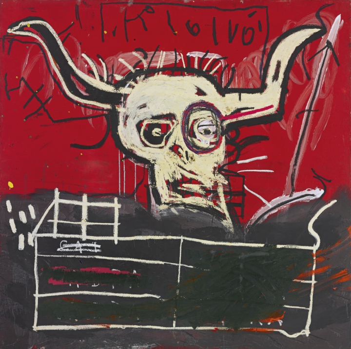 """In this undated photo provided by Sotheby's with the permission of the Artists Rights Society, a circa 1981-82 painting entitled """"Cabra"""" by Jean-Michel Basquiat is shown. The painting, currently in the collection of Yoko Ono, will be offered at auction by Sotheby's on Thursday, Nov. 16, 2017 in New York. (Jean-Michel Basquiat/Artists Rights Society, Sotheby's via AP)"""