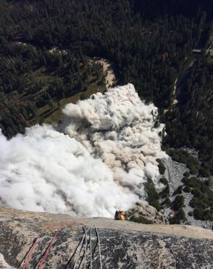 "This Thursday, Sept. 28, 2017 photo provided by climber Ryan Sheridan shows a new rock fall from El Capitan in Yosemite National Park, Calif. Sheridan had just reached the top of El Capitan when Thursday's slide let loose below him. Sheridan told The Associated Press that ""there was so much smoke and debris,"" and clouds of dust filled the entire valley below. He said Thursday's rock slide happened in the same location as the one on Wednesday at the El Capitan rock formation. (Ryan Sheridan via AP)"