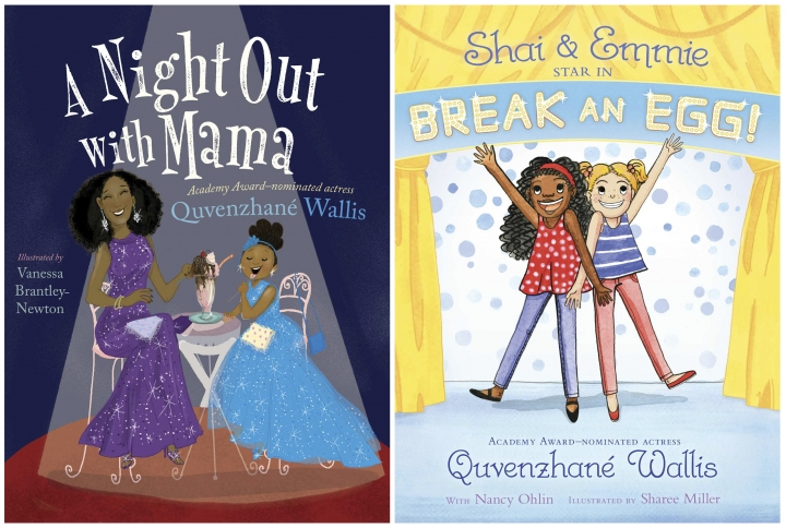 "This combination of cover image released by Simon & Schuster shows "" A Night Out with Mama,"" left, and ""Shai & Emmie Star in Break an Egg!,"" by Quvenzhane Wallis (Simon & Schuster via AP)"