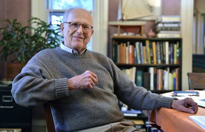 Rainer Weiss poses for a photograph at his home, Tuesday, Oct. 3, 2017, in Newton, Mass. Weiss, of the Massachusetts Institute of Technology, is one of three awarded this year's Nobel Prize in physics for their discoveries in gravitational waves. (AP Photo/Josh Reynolds)