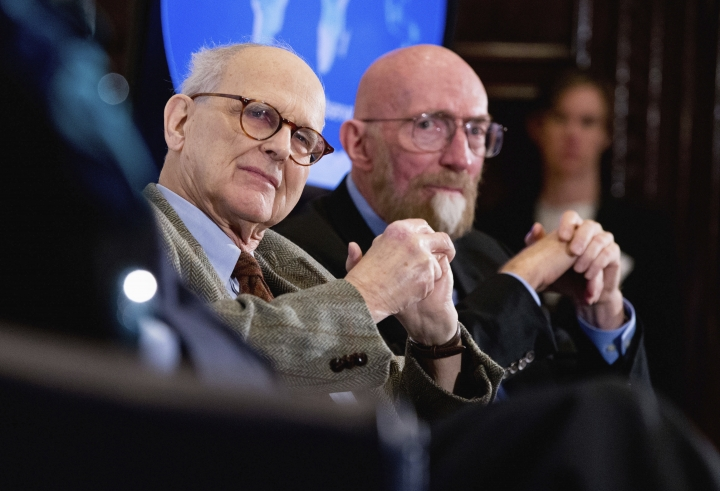 FILE - In this file photo dated Thursday, Feb. 11, 2016, Laser Interferometer Gravitational-Wave Observatory (LIGO) Co-Founders Rainer Weiss, left, and Kip Thorne, right, participate in a news conference at the National Press Club in Washington, as it is announced that scientists they have finally detected gravitational waves. The Nobel Physics Prize 2017 is announced Monday Oct. 3, 2017, awarded jointly to three scientists Rainer Weiss of the Massachusetts Institute of Technology, and Barry Barish and Kip Thorne of the California Institute of Technology. (AP Photo/Andrew Harnik, FILE)