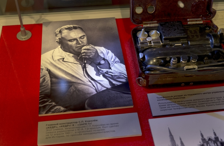 In this photo made on Monday, Oct. 2, 2017 a photo of Sergei Korolyov, the father of the Soviet space program talking on a radio with first Cosmonaut Yuri Gagarin is on display at the Museum of Cosmonautics in Moscow, Russia. The launch of Sputnik 60 years ago opened the space era and became a major triumph for the Soviet Union, showcasing its military might and technological edge. (AP Photo/Ivan Sekretarev)