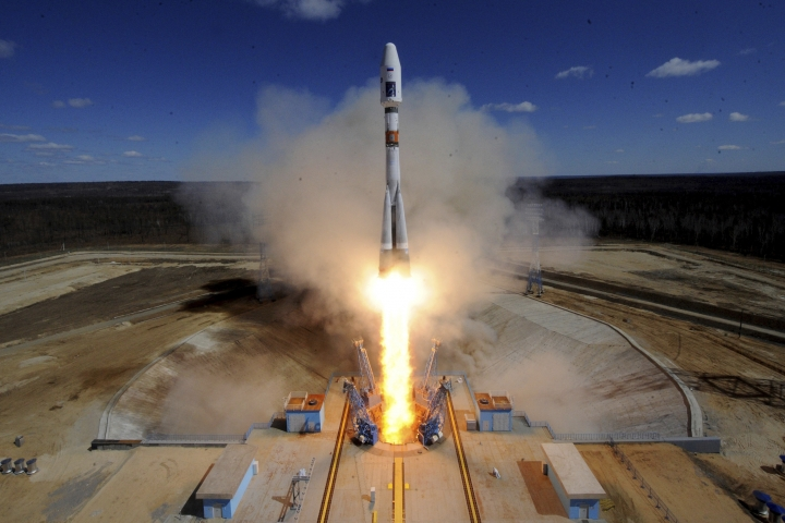 FILE- In this file photo taken on Thursday, April 28, 2016, A Russian Soyuz 2.1a rocket carrying Lomonosov, Aist-2D and SamSat-218 satellites lifts off from the launch pad at the new Vostochny Cosmodrome outside the city of Uglegorsk, about 200 kilometers (125 miles) from the city of Blagoveshchensk in the far eastern Amur region, Russia. Six decades after Sputnik opened the space era, Russia has struggled to build up on its Soviet-era space achievements and space research now ranks very low among the Kremlin's priorities. (Kirill Kudryavtsev/Pool Photo via AP, File)