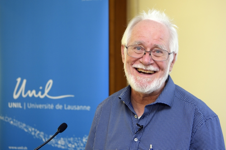 Jacques Dubochet, University of Lausanne, one of the 2017 Nobel Prize winners in Chemistry smiles before a press conference at the University of Lausanne, Switzerland, Wednesday, Oct. 4, 2017. Three researchers based in the U.S., U.K. and Switzerland won the Nobel Prize in Chemistry on Wednesday for developments in electron microscopy. The 9-million-kronor ($1.1 million) prize is shared by Jacques Dubochet of the University of Lausanne, Joachim Frank at New York's Columbia University and Richard Henderson of MRC Laboratory of Molecular Biology in Cambridge, Britain. (Jean-Christophe Bott/Keystone via AP)