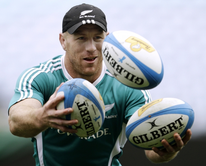 FILE - In this Sept. 10, 2010 file photo New Zealand rugby union player Brad Thorn juggles three balls during a training session in Sydney, Australia. The multi-faceted career of dual rugby league and rugby union international Brad Thorn has taken a surprising new turn with his appointment as head coach of the Queensland Reds in Super Rugby. (AP Photo/Rick Rycroft, File)