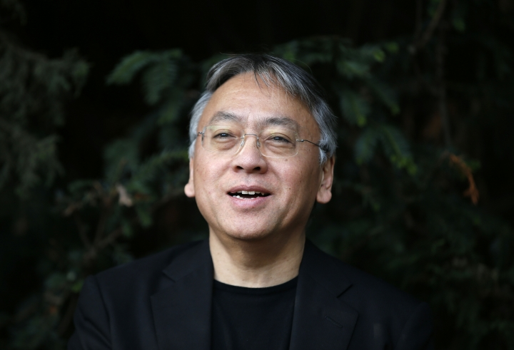 """British novelist Kazuo Ishiguro speaks during a press conference at his home in London, Thursday Oct. 5, 2017. Ishiguro, best known for """"The Remains of the Day,"""" won the Nobel Literature Prize on Thursday, marking a return to traditional literature following two years of unconventional choices by the Swedish Academy for the 9-million-kronor ($1.1 million) prize. (AP Photo/Alastair Grant)"""