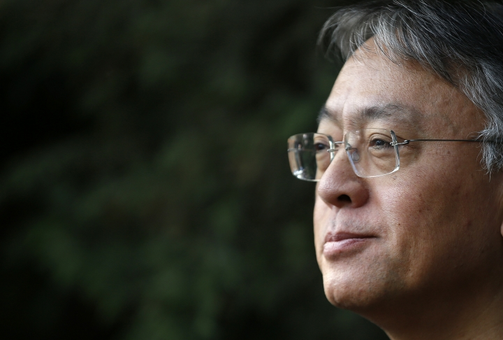 """British novelist Kazuo Ishiguro during a press conference at his home in London, Thursday Oct. 5, 2017. Ishiguro, best known for """"The Remains of the Day,"""" won the Nobel Literature Prize on Thursday, marking a return to traditional literature following two years of unconventional choices by the Swedish Academy for the 9-million-kronor ($1.1 million) prize. (AP Photo/Alastair Grant)"""