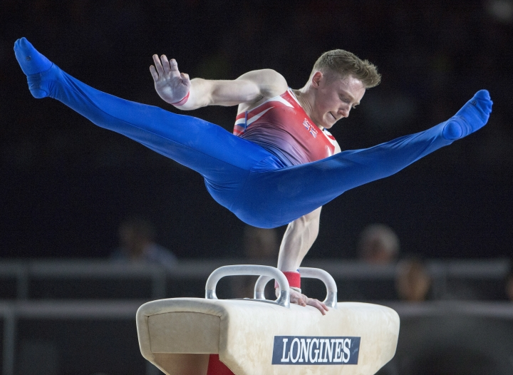Nile Wilson, from Britain, performs on the pommel horse during the men's individual all-around final at the Artistic Gymnastics World Championships Thursday, Oct. 5, 2017 in Montreal. (Ryan Remiorz/The Canadian Press via AP)